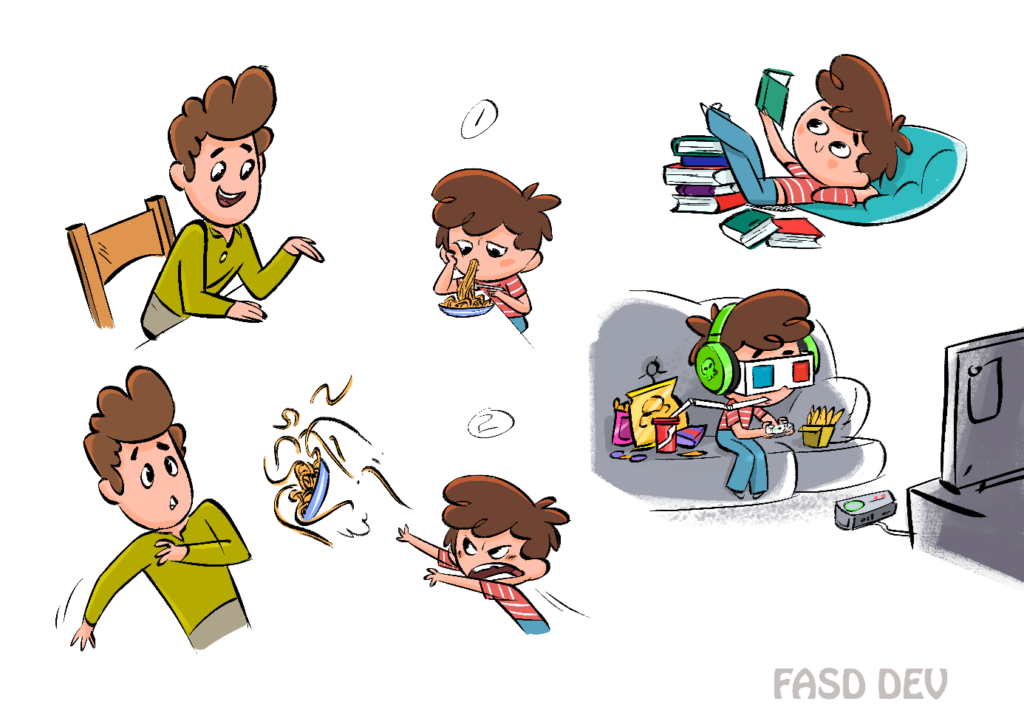 Cartoonzeichnung als Entwurf für FASD Erklärfilm
